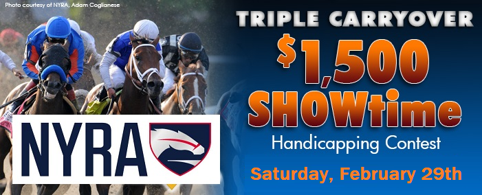 $1500 Showtime Contest 3x Carryover this Saturday Feb29